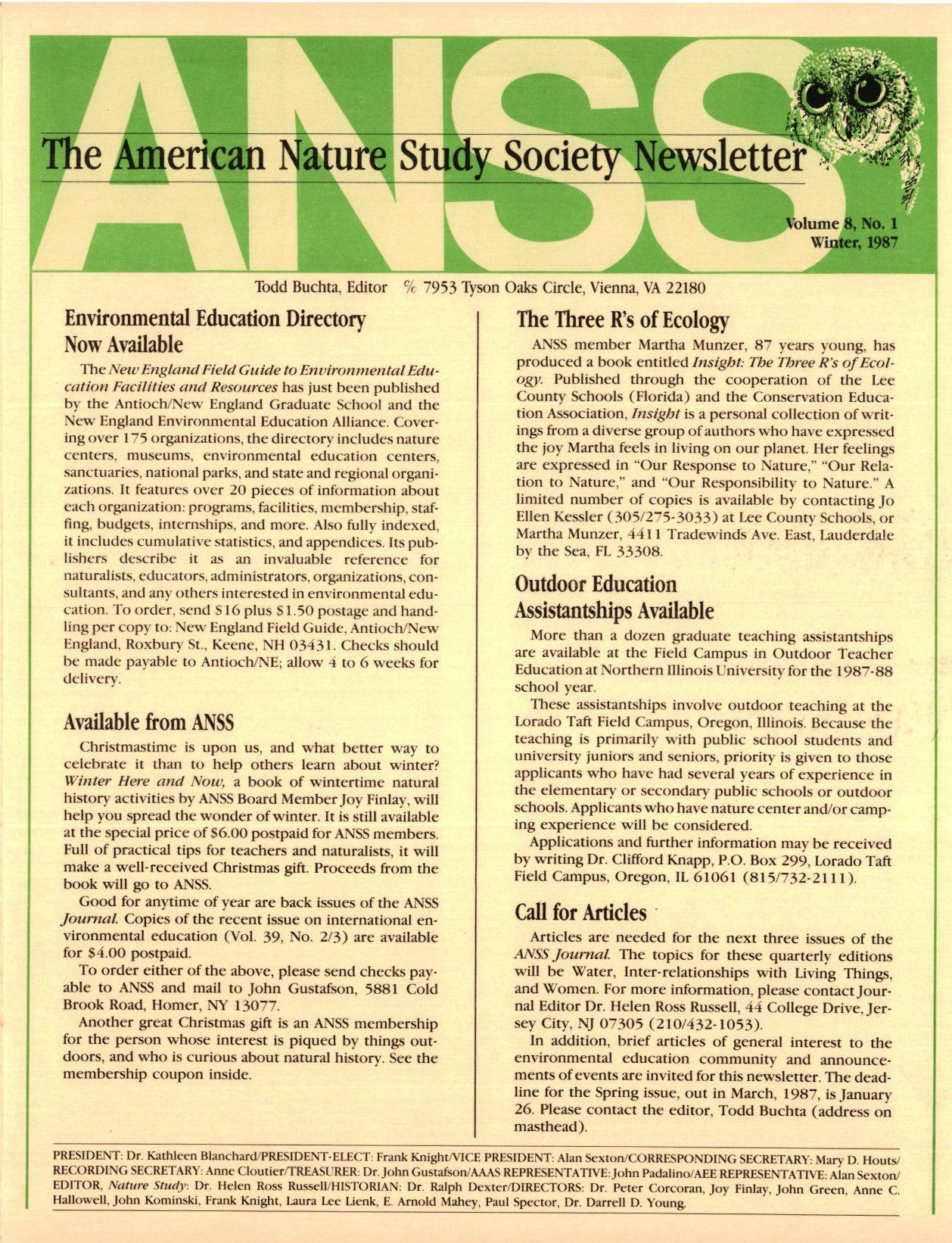 ANSS Newsletter Winter 1987